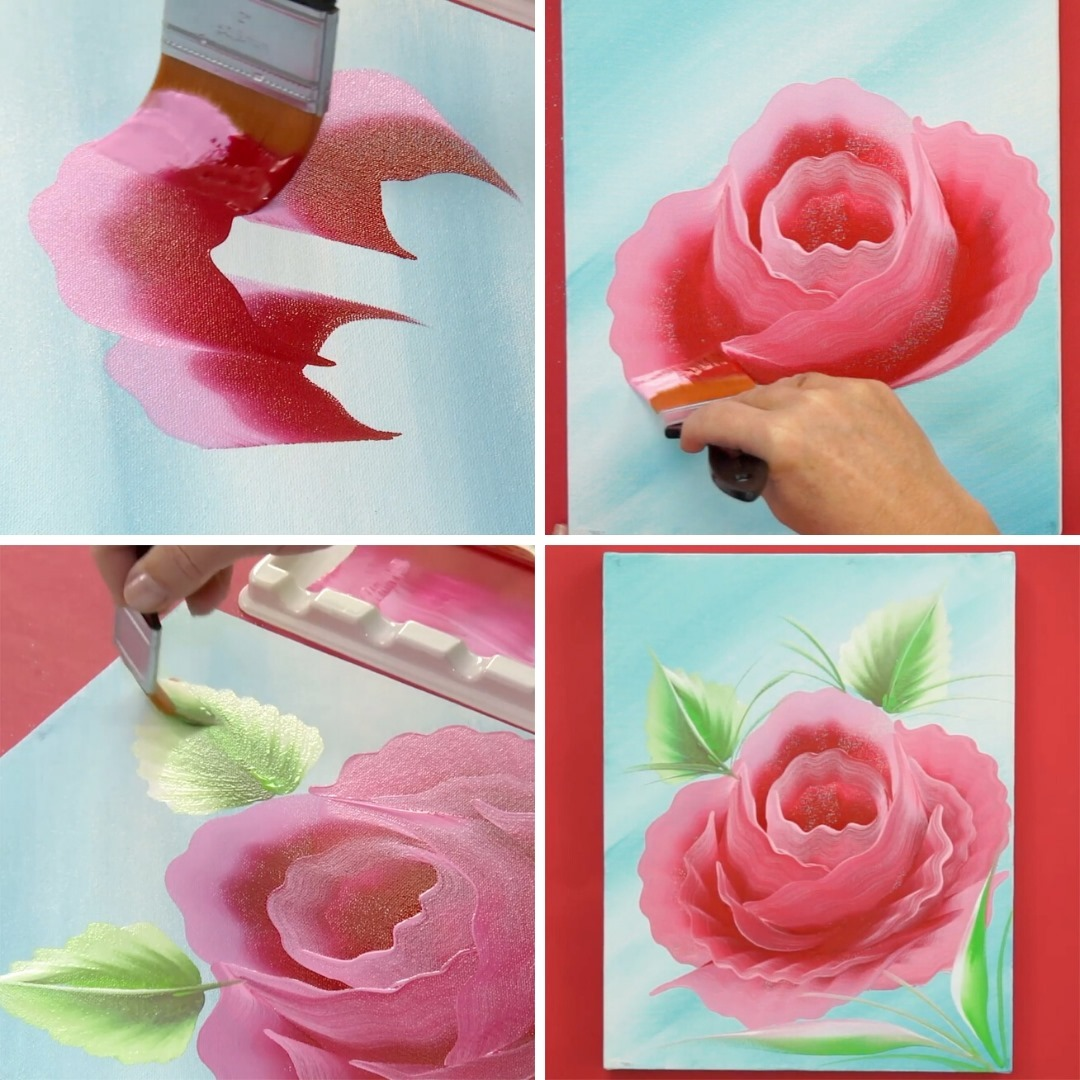 One stroke painting flowers Rose